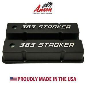 Small Block Chevy Sbc Tall 383 Stroker Raised Letter Valve Covers Black