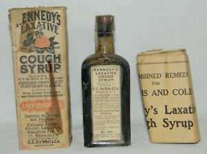 Kennedy S Cough Syrup Antique Vtg Medicine Bottle Label Cork Box Inst Apothecary
