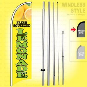 Fresh Squeezed Lemonade Windless Swooper Flag Kit 15 Feather Banner Sign Yb h