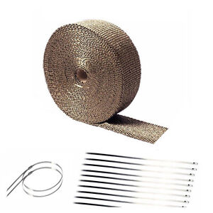 2 50ft Titanium Basalt Manifold Header Exhaust Pipe Heat Wrap 10 Ties Kit