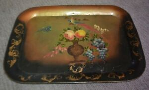 Large Painted Stenciled Toleway Metal Tray Bird Of Paradise Fruit Floral 26x18
