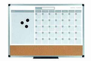 Planning Board 3 in 1 Calendar Dry Erase 24 X 36 With Aluminum Frame
