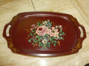Vintage Hand Painted Flowers Toleware Serving Tray Red Metal Cottage 19 X11
