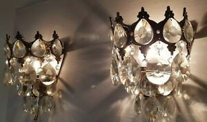 Matching Pair Of Antique Vintage Brass Crystals Wall Sconces Chandelier Lamp