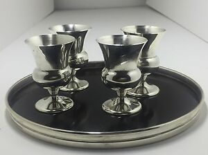 Gorham 5 Piece Set With Sterling Silver Rim Trivitray And 4 Cordial Cups 1311