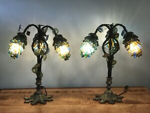 Pair Of Art Nouveau Table Lamps W 3 Czech Glass Grape Cluster Shades 21 Antique