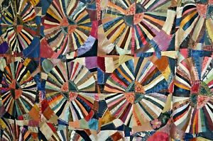 Very Beautiful Antique Crazy Quilt Designed Colorful Handsewn Mennonite Find