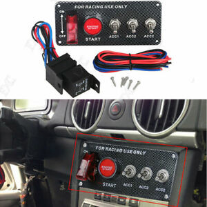Ignition Switch Panel Engine Start Starter Push Button Led Toggle Racing Car Hot