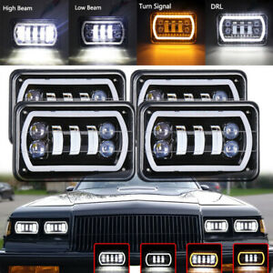 4pc 4 x6 Cree Led Headlights Sealed Hi lo Beam Halo Drl Amber Turn Signal Light