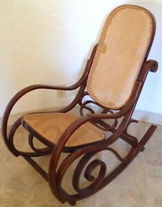 Vtg Bentwood Rocker Cane Back Bottom Rocking Chair Mcm Thonet Style Dark Color