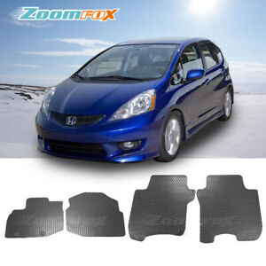 Fit 2009 2013 Honda Fit All Weather Black Rubber Floor Mat Front Rear