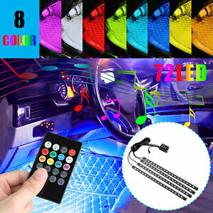 4pcs 72led Rgb 8color Car Interior Atmosphere Neon Lights Strip Remote Control