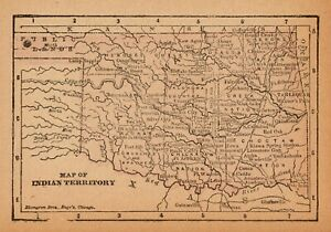 Rare Antique Indian Territory Map 1888 Rare Miniature Vintage Oklahoma Map 6843
