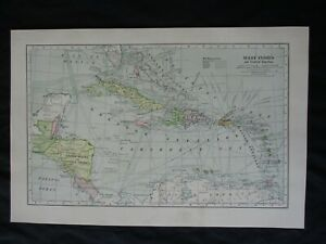 1899 Spanish American War Map Of The West Indies Central America Frame It