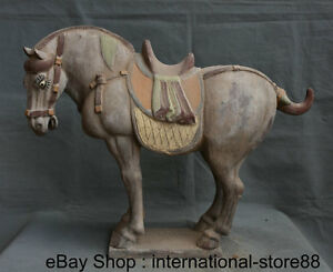 20 8 Old Chinese Tang San Cai Pottery Dynasty Palace Stand Horse Steed Statue