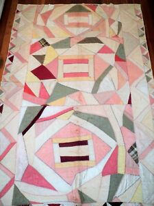 Vtg Antique Silk Pastel Crazy Quilt Soft Shimmery Colors 60 X 86 Estate Find