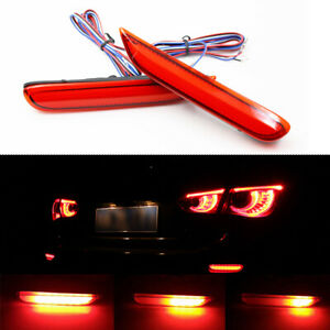 Fit Infiniti Q50 Qx56 Nissan Red Lens Led Rear Bumper Fog Lights Flowing Signal