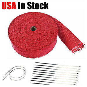 Red Exhaust Pipe Header Insulation Thermal Heat Wrap 2 X 50 Motorcycle Car