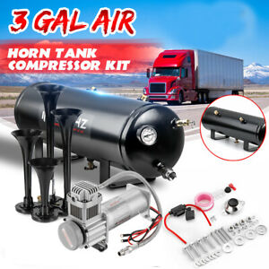 3 Gal 4 Trumpet Air Horn Tank 200psi Compressor Onboard System Train Boat Truck