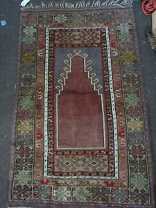 Vintage Antique Handmade Oriental Prayer Rug 3 X5