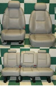 07 13 Avalanche Gray Dual Power Heat Cooled Leather Bucket Seats Backseat Tracks