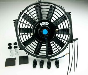 Electric Radiator Cooling Fan 10 Inch Push Pull Universal Straight With Fittings