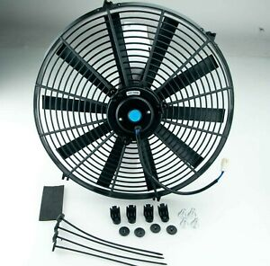 Electric Radiator Cooling Fan 16 Inch Push Pull Universal Straight With Fittings