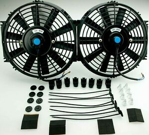 2x Radiator Cooling Fan 10 Inch Push pull Universal Straight With Fittings
