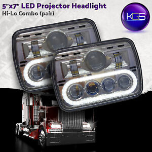 Kgs 5x7 Led Headlight With High Low Beam White Drl Pair Dot Approved