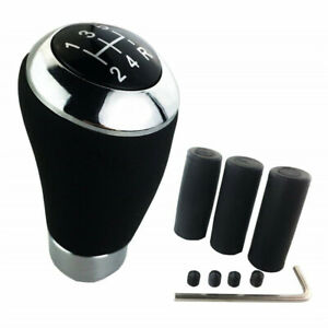 Universal 5 Speed Manual Gear Shift Knob Shifter Lever Premium Black Leather