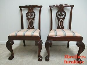 2 Baker Furniture Mahogany Ball Claw Chippendale Dining Room Side Chairs D