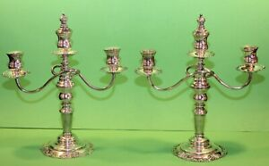 Vintage Sterling Silver Candle Holders Matching Pair 3 Candles Each Beautiful