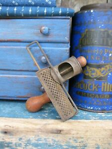 Early Antique Tin Nutmeg Grater W Wood Handle Free Shipping