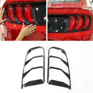 Carbon Fiber Abs Rear Bumper Tail Light Lamp Cover 2pcs For Ford Mustang 2018 19