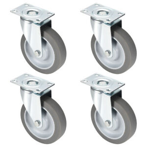 Swivel Caster Wheels 5 Inch Tpr Caster Top Plate Mounted 264lb Capacity 4pcs