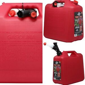 Red Plastic Gasoline Can Self venting Spout Epa And Carb Compliant 5 gallon