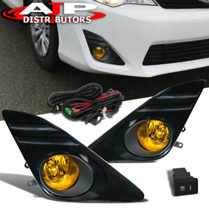 For 12 14 Camry Jdm Yelow Amber Driving Bumper Fog Lights Pair Wiring