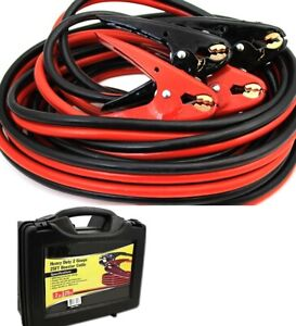 25 Ft 2 Gauge Battery Jumper Heavy Duty Power Booster Cable Emergency Car Truck