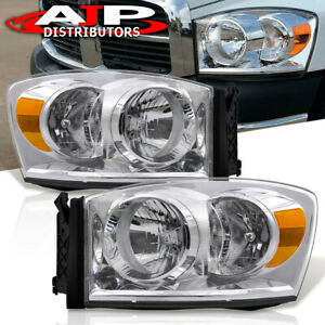 For 06 2008 Dodge Ram 1500 2500 3500 Chrome Housing Front Headlights Replacement