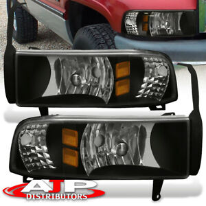 For 94 01 Dodge Ram 1500 2500 3500 Crystal Black 2in1 Headlights Pair Left right