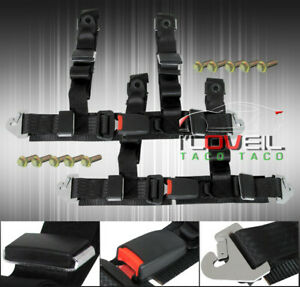 Pair Of 2 Black Nylon 4 Point Tune Seat Belt Harness Quick Snap Strap Buckle