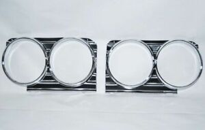 66 1966 Chevy Impala Caprice Headlight Head Lamp Grille Trim Aluminum Bezels