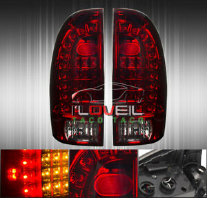 Red Smoked Led Brake Tail Lights Lamps Left Right For 2005 2015 Toyota Tacoma