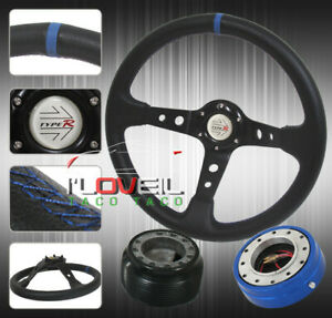 92 95 Civic 350mm Steering Wheel Black Blue Quick Release Hub Horn Button