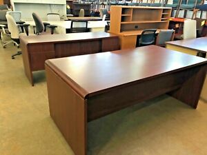6 Executive Set Desk Credenza By Miller Office Furniture In Mahogany Laminate