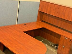 Executive U shape Desk By Marquis Office Furniture In Cherry Color Laminate