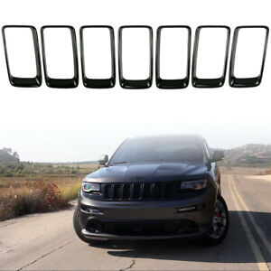 7x Front Grille Grill Inserted Ring Trim Cover For Jeep Grand Cherokee 2014 2016