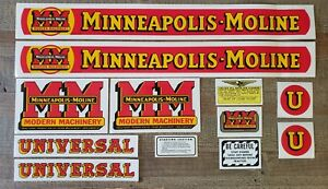 Minneapolis Moline Model U Tractor Decal Set