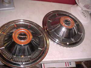 Vtg Pair 2 Ford Bronco Pick Up Truck Galaxie Full 15 Wheel Covers Hub Caps