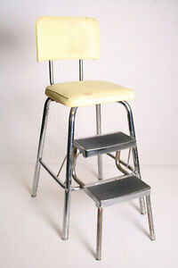 Vintage Metal Step Stool Industrial Side Chair Loft Yellow Folding Kitchen 50s
